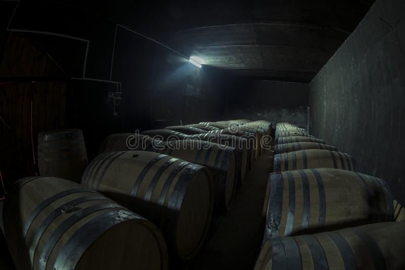 地窖科涅克白兰地侧那里橡木喝酒 图库摄影
