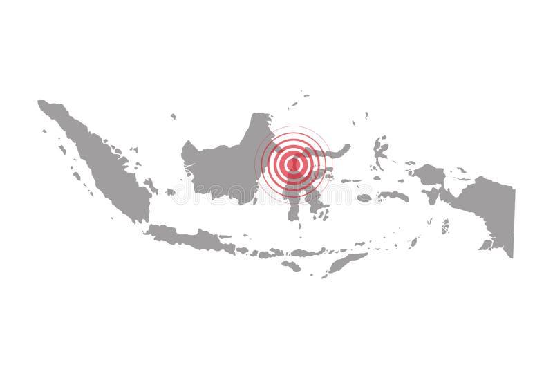 地震和海啸在苏拉威西岛,有圈子的印度尼西亚影响了区域 库存例证