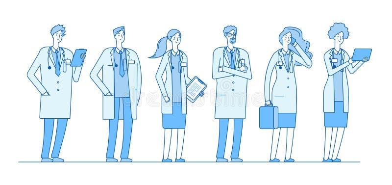 医生小组 医生医学工作者人外科医生护士药剂师常务小组线性平的医疗保健医院 皇族释放例证