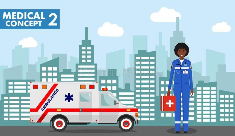 医疗概念 紧急制服的医生非裔美国人的妇女的详细的例证在背景与 皇族释放例证