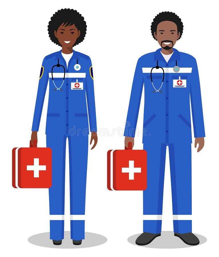 医疗配合概念 非裔美国人的医务人员男人和妇女,紧急医生,护士详细的例证夫妇  向量例证