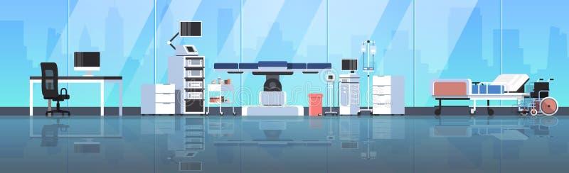 医院手术台干净的医疗手术室现代设备诊所内部医护人员医生工作场所 向量例证