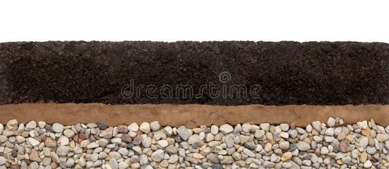 土壤层数:在白色背景和石头隔绝的腐植质、黏土 库存图片
