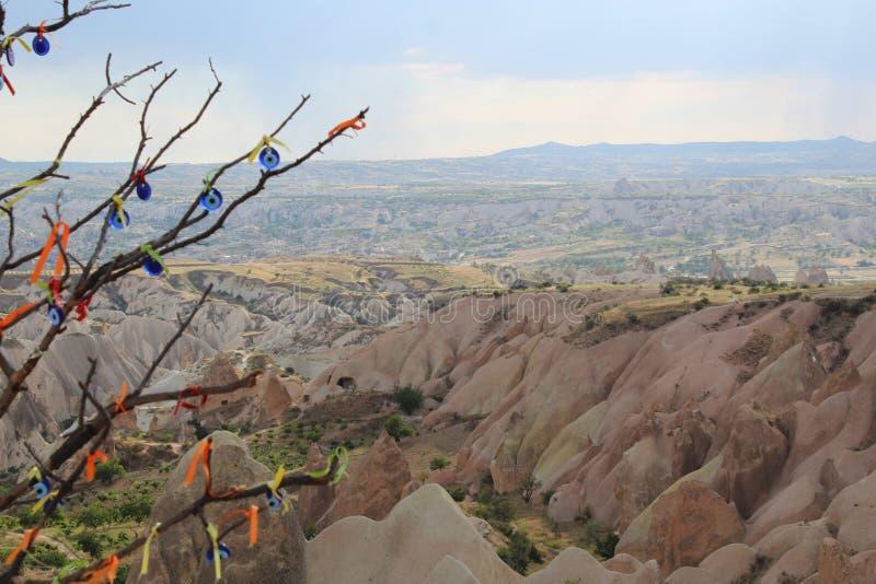 土耳其卡帕多细亚山树 图库摄影