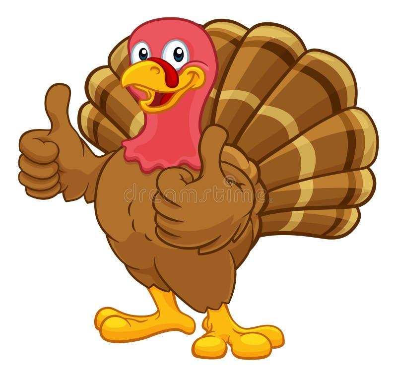 土耳其感恩或圣诞节卡通人物 库存例证