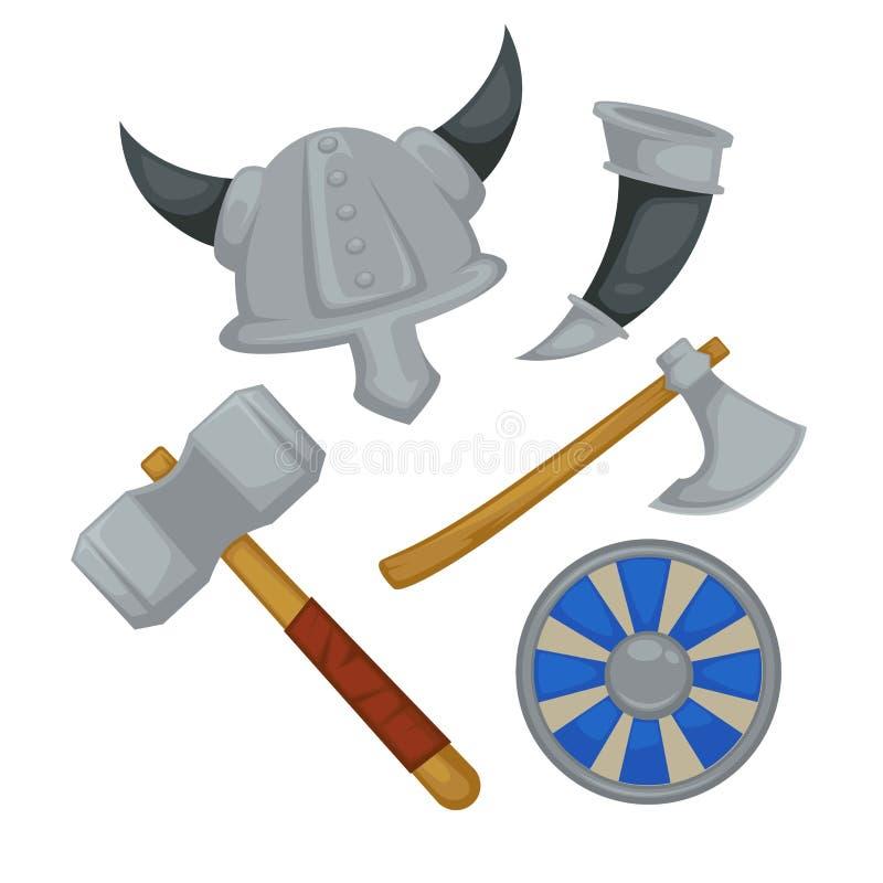 北欧海盗装甲和武器有角的盔甲和轴有盾的 向量例证