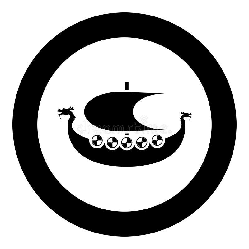北欧海盗drakkar Dracar风船北欧海盗的船北欧海盗小船象在圈子圆的例证平的样式图象的黑色传染媒介 向量例证