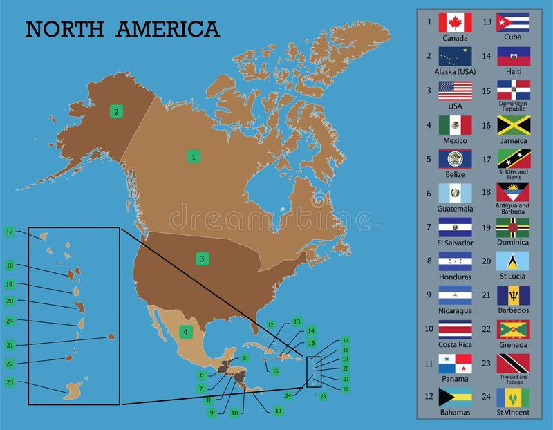 北美洲地图和旗子 库存例证