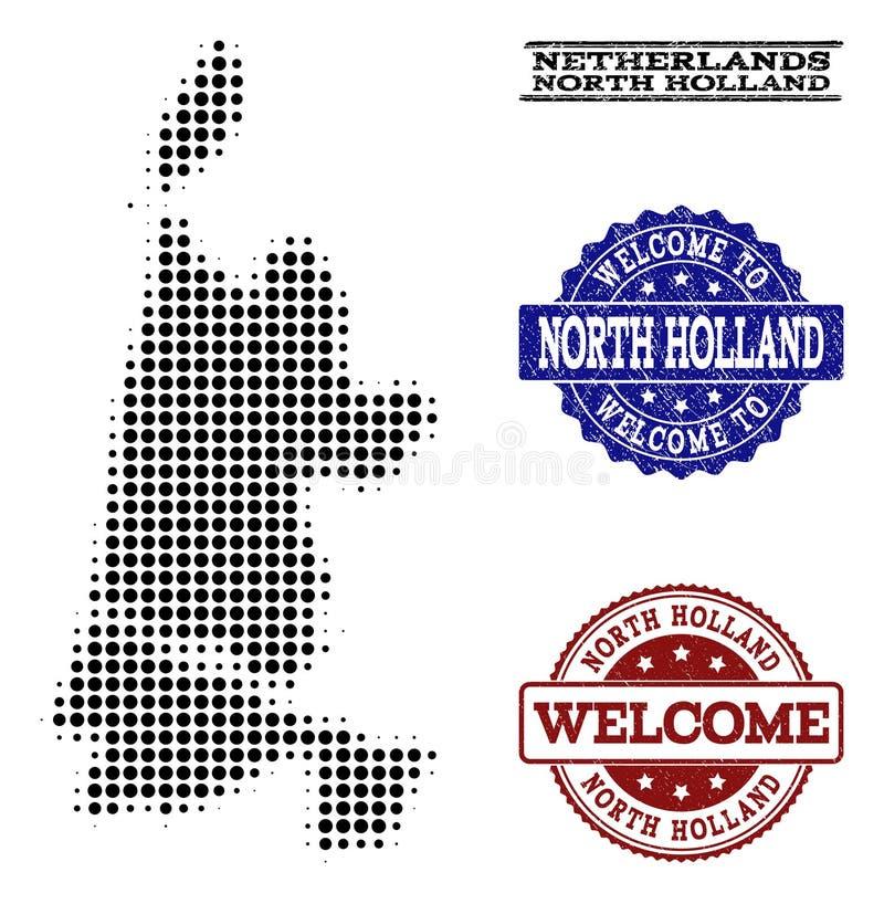 北荷兰省和难看的东西邮票半音地图的受欢迎的构成  皇族释放例证