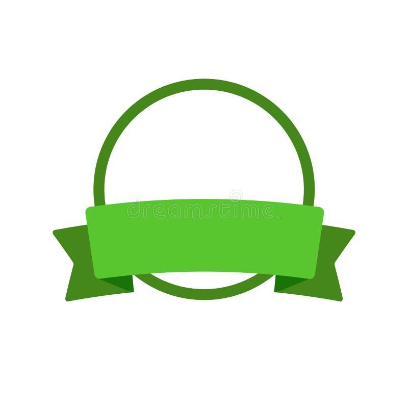 圆的框架,传染媒介丝带 绿色Eco生物标志标志,贴纸,装饰平的设计徽章,在白色隔绝的例证 皇族释放例证