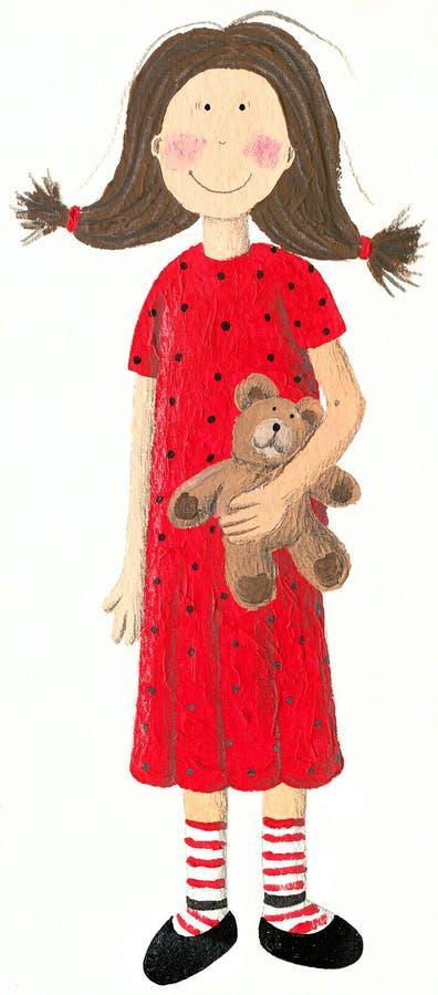 圆点的女孩穿戴与玩具熊 库存例证