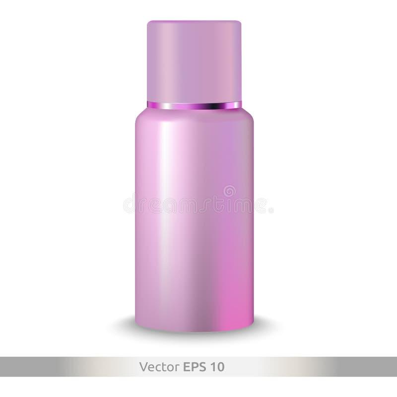 化妆-补品或胶束水的塑料瓶 产品包装 健康和秀丽 免版税库存图片