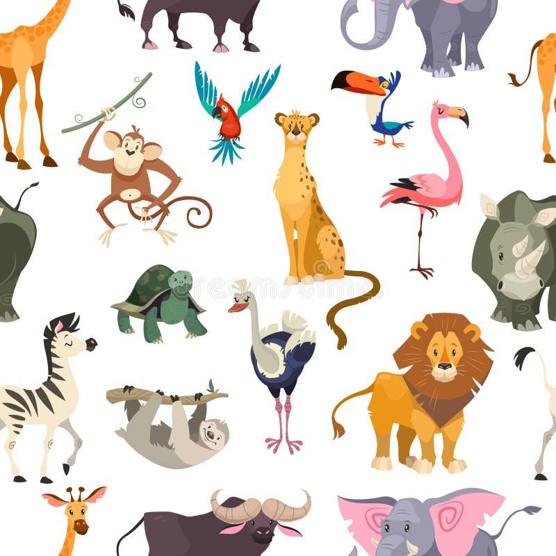 动物仿造无缝通配 非洲徒步旅行队印刷品密林动物园热带叶子平展贴墙纸纺织品逗人喜爱的孩子动物 库存例证