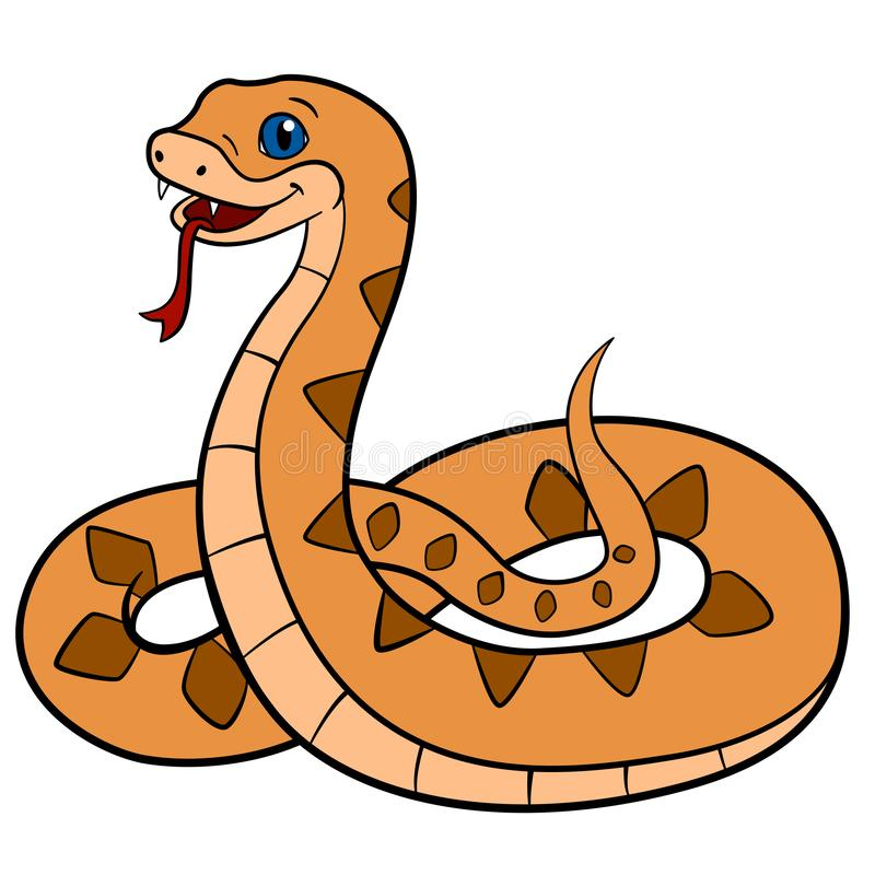 动物动画片被画的现有量查出的向量白色 一点可爱宝贝蛇蝎微笑 库存例证