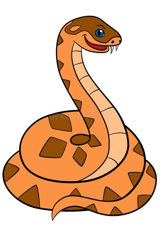 动物动画片被画的现有量查出的向量白色 一点逗人喜爱的蛇蝎微笑 库存例证