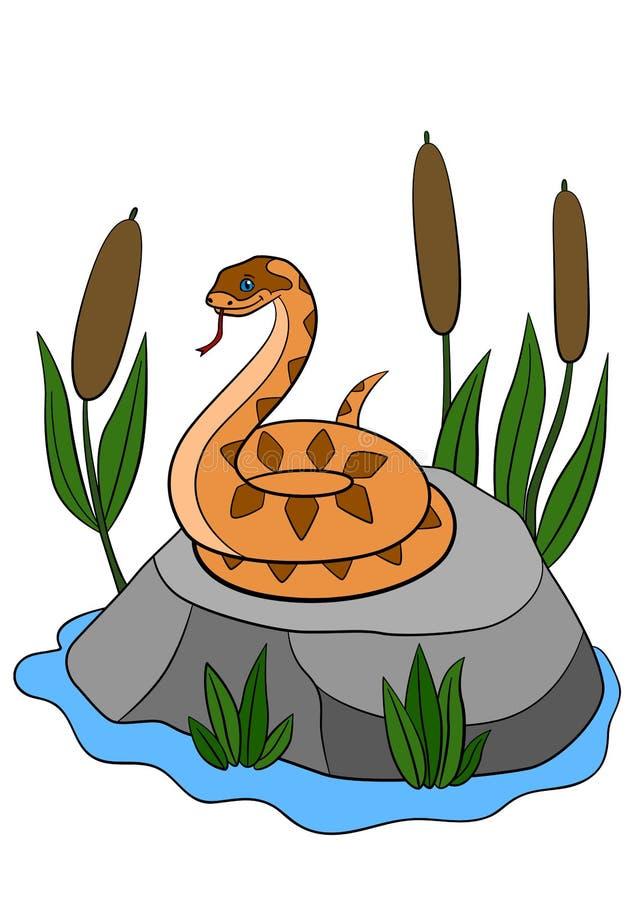 动物动画片被画的现有量查出的向量白色 逗人喜爱的蛇蝎在石头站立 向量例证