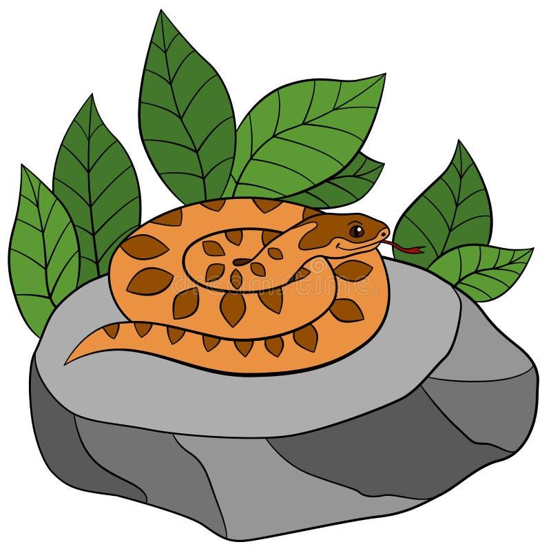 动物动画片被画的现有量查出的向量白色 逗人喜爱的蛇蝎在石头说谎 库存例证