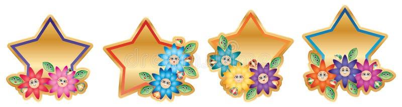 动画片叶子蝶粉花星模板贴纸 向量例证