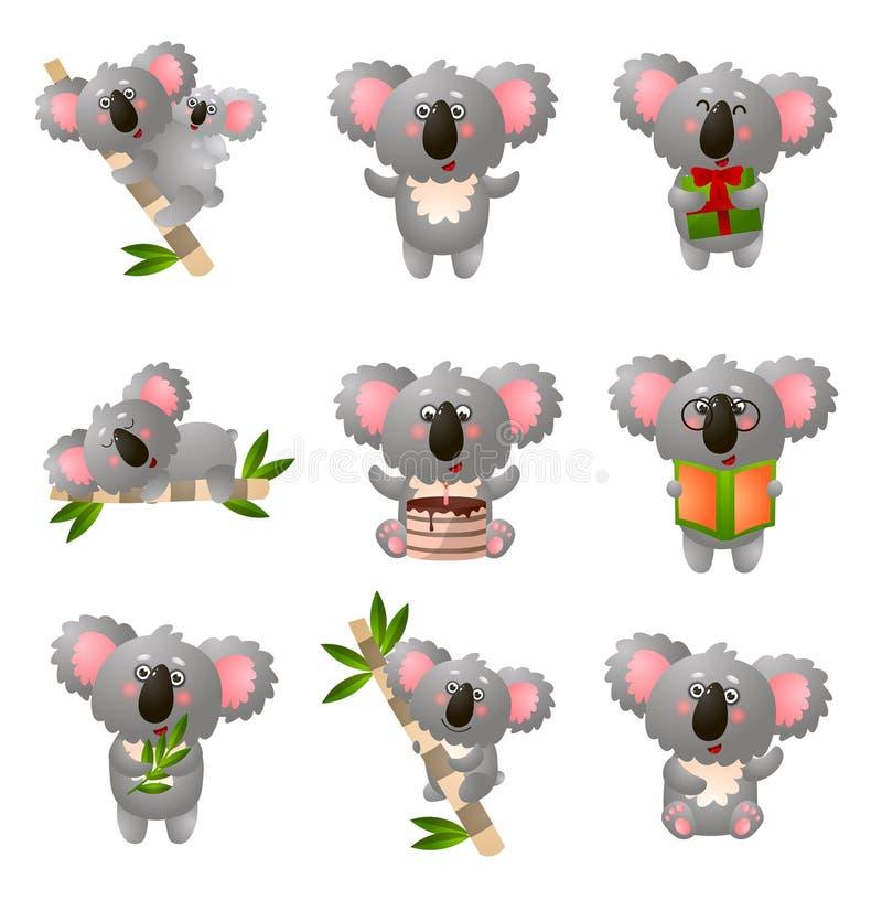 动画片在白色背景在另外姿势的考拉集合隔绝的 库存例证