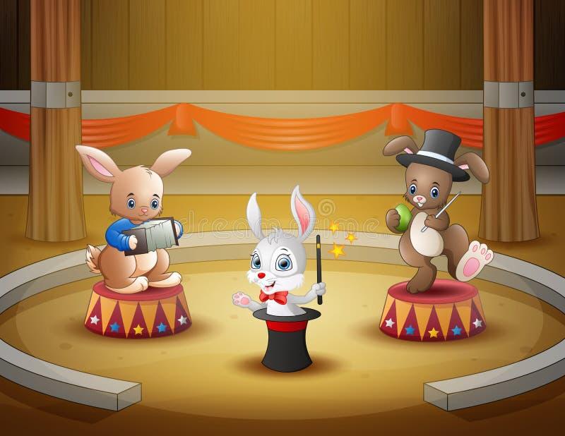 动画片兔子在竞技场的马戏表现 库存例证