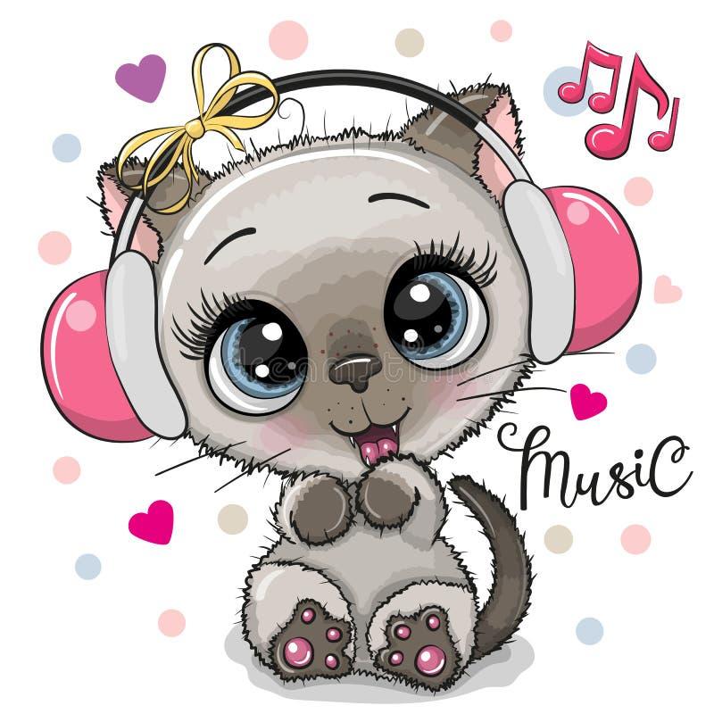 动画片有耳机的猫女孩在白色背景 库存例证