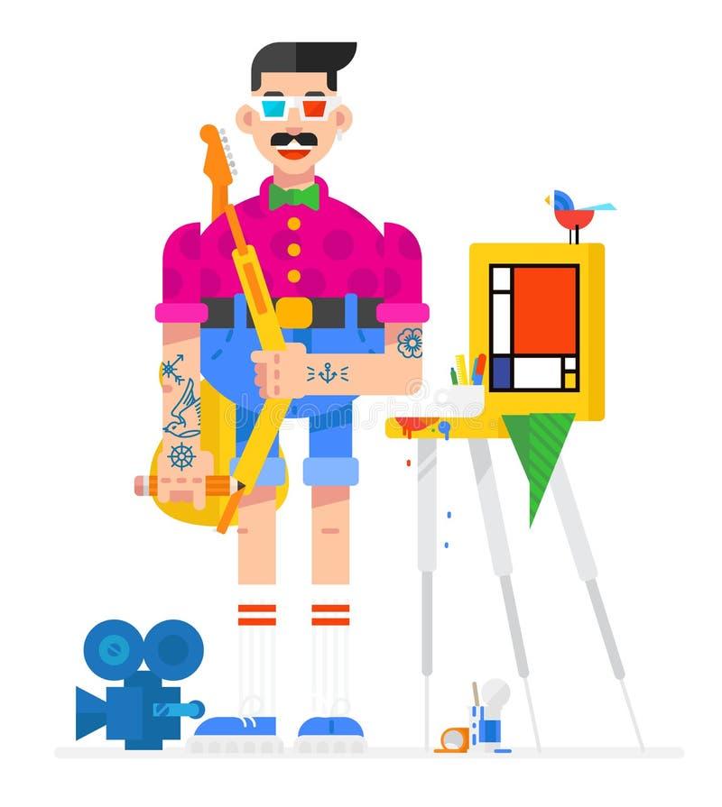 动画片样式的艺术家设计师 艺术家在工作场所 在一个平的样式的字符 图象在白色背景被隔绝 库存例证