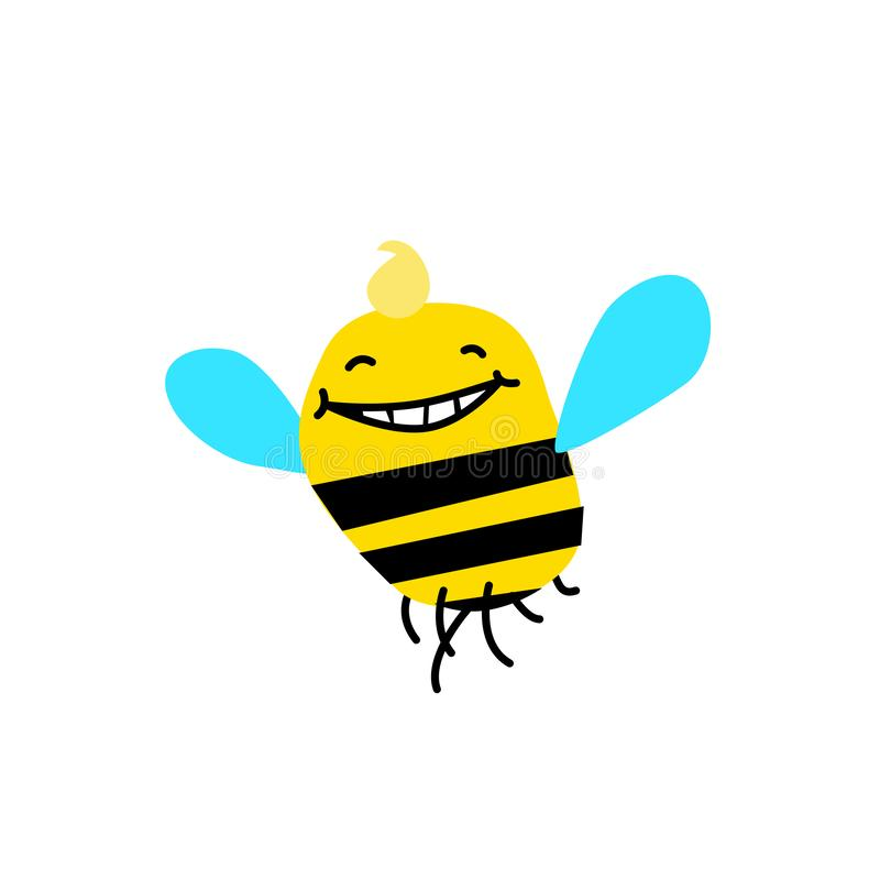 动画片蜂的例证 也corel凹道例证向量 滑稽的蜂,土蜂 图象在白色背景被隔绝 的吉祥人 库存例证