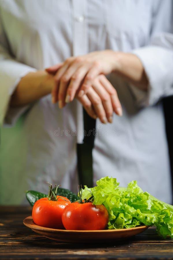 厨师和菜eco健康食品概念 免版税库存图片