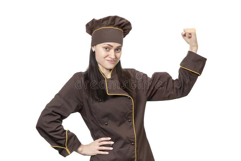厨师显示他的肌肉 图库摄影