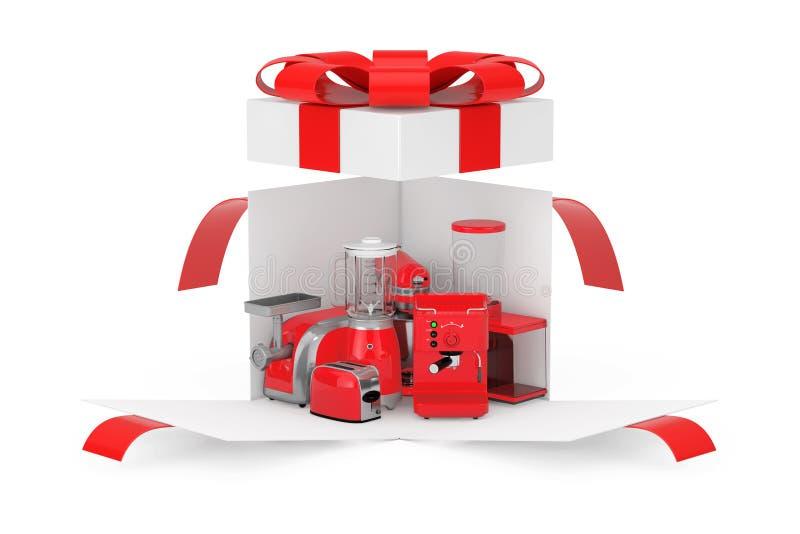 厨房器具礼物 红色搅拌器、多士炉、咖啡机、肉Ginder,食物搅拌器和磨咖啡器在白色被打开的惊奇 图库摄影
