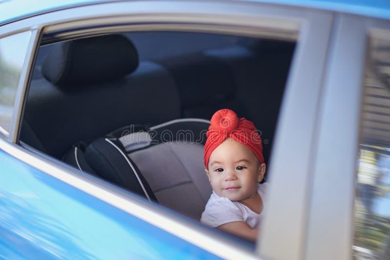 去在后座的婴孩 免版税库存照片