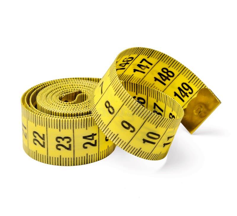 厘米在白色被隔绝的背景的裁缝磁带 特写镜头 免版税图库摄影
