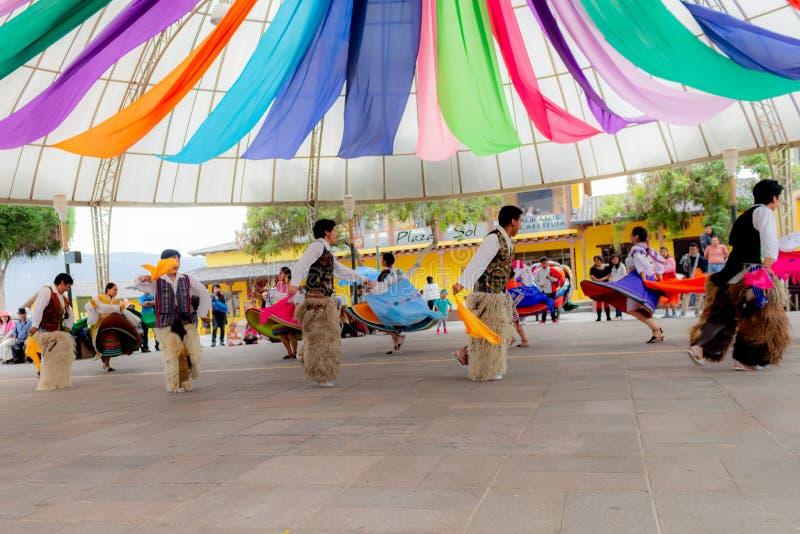 厄瓜多尔的土产舞蹈家 库存图片