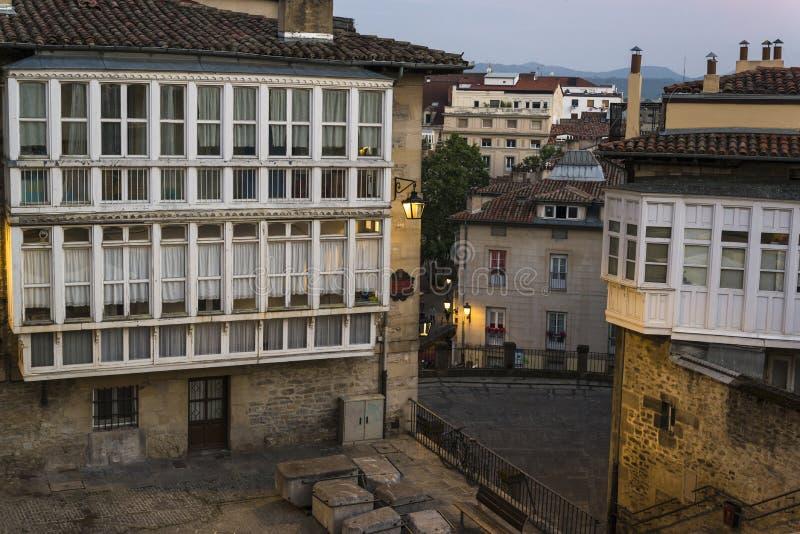 历史的中心,维托里亚Gasteiz,巴斯克地区,西班牙 免版税库存照片