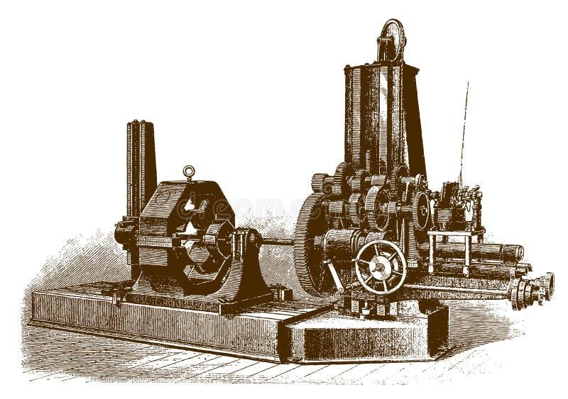 历史的电子被驾驶的乏味磨房机器 向量例证
