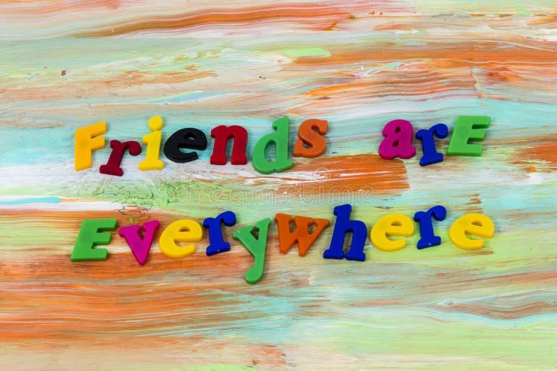 到处朋友支持帮助爱塑料 库存图片