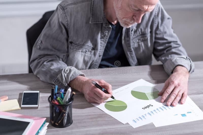 分析财务成果的商人 免版税库存照片