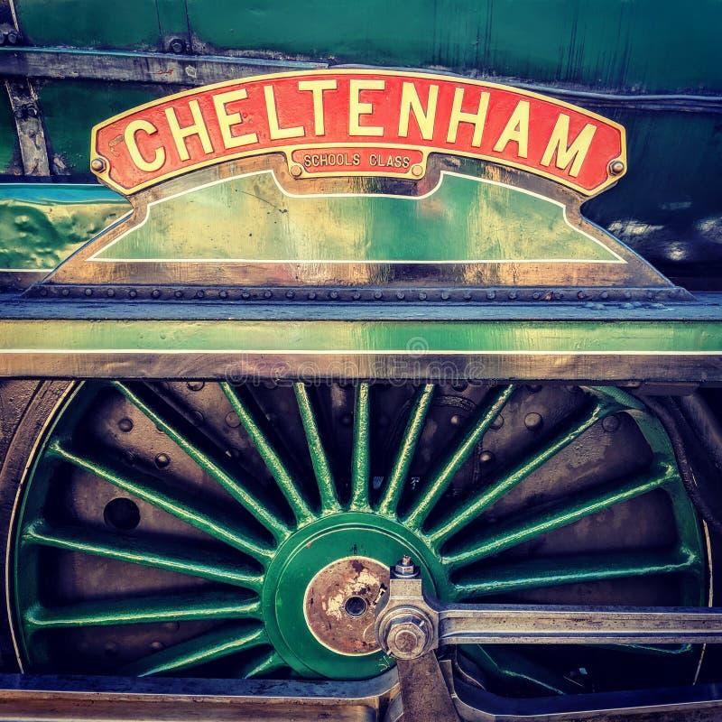 切尔滕纳姆蒸汽引擎名字板极 图库摄影