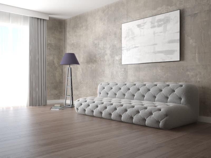嘲笑有一个完善的舒适的沙发的现代客厅 皇族释放例证