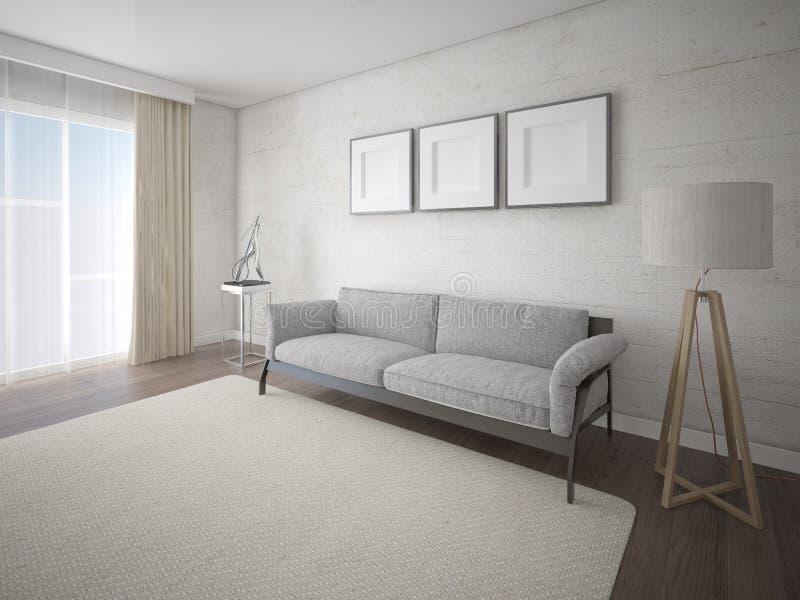 嘲笑有一个时髦的经典沙发的明亮的客厅 向量例证