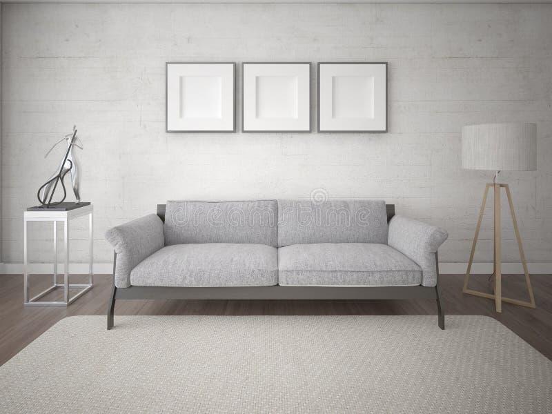 嘲笑有原始的沙发的现代客厅 向量例证