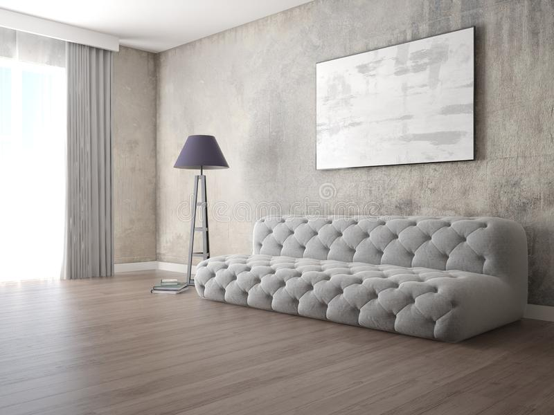 嘲笑有原始的时髦的沙发的时兴的客厅 库存例证