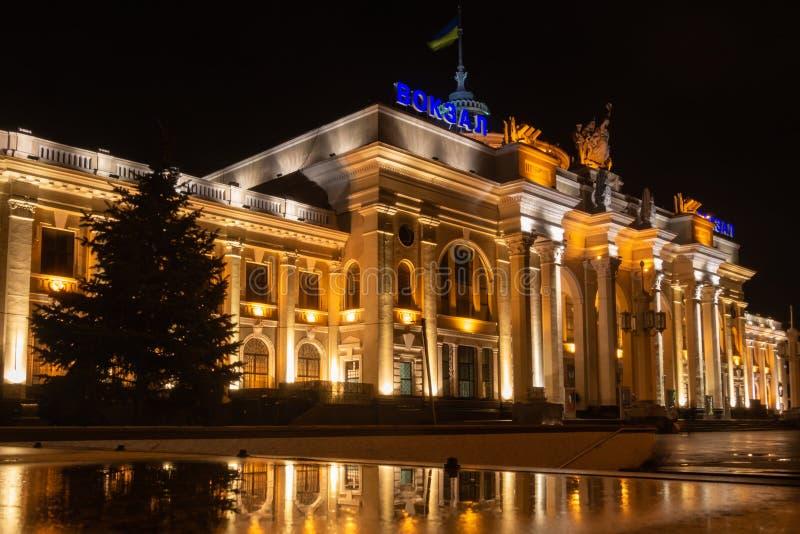 傲德萨火车站的大厦 在乌克兰语& x22的题字;station& x22; 2019年 02 26 免版税库存图片