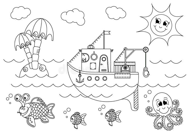 Łódź rybacka unosi się w morzu z rybą i ośmiornicą ilustracji