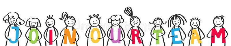 ŁĄCZY NASZ drużyny, uśmiechnięta grupa trzyma kolorowych listy kij postacie ilustracja wektor