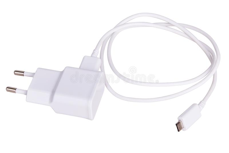 Ładowarki prymka dla gadżetu odizolowywającego na bielu i sznur obraz stock