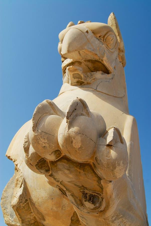 Łapa i głowa gryf przy ruinami Persepolis w Shiraz, Iran zdjęcie stock