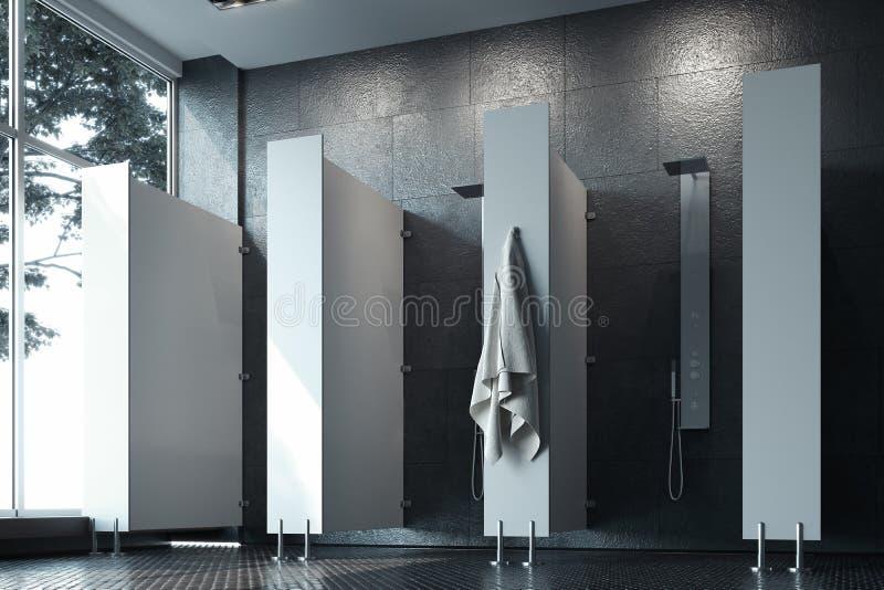 Łazienki wnętrze z zmrok ścianami, prysznic kabinami i dużym okno, świadczenia 3 d royalty ilustracja