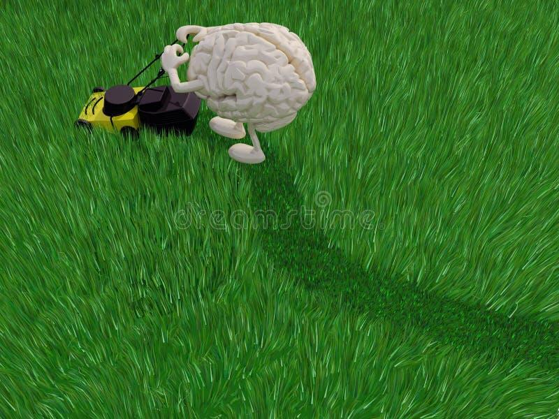 Łebskiej kreskówki trawy tnący pole royalty ilustracja