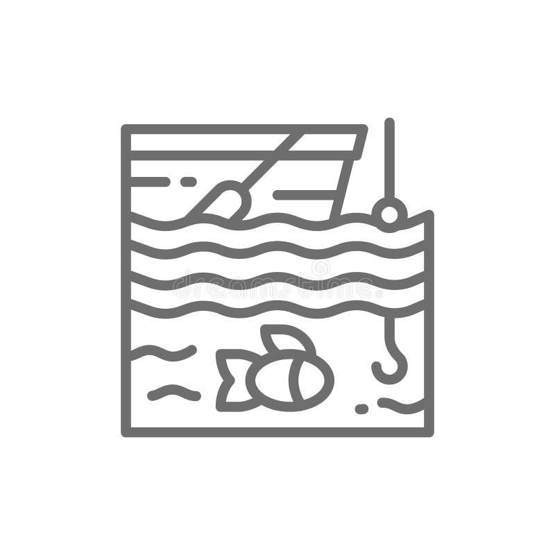 Łowić na łodzi linii ikonie royalty ilustracja